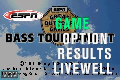 Menu screen of the game ESPN Great Outdoor Games - Bass 2002 on Nintendo GameBoy Advance