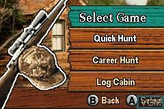 Menu screen of the game Cabela's Big Game Hunter - 2005 Adventures on Nintendo GameBoy Advance