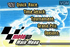 Menu screen of the game 2 Games in 1 - GT Advance 3 & Moto GP on Nintendo GameBoy Advance