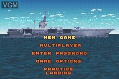 Menu screen of the game F-14 Tomcat on Nintendo GameBoy Advance