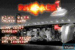 Menu screen of the game Payback on Nintendo GameBoy Advance