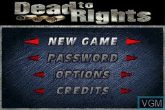 Menu screen of the game Dead to Rights on Nintendo GameBoy Advance