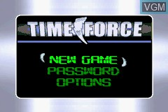 Menu screen of the game 2 Games in 1 - Power Rangers - Ninja Storm + Power Rangers - Time Force on Nintendo GameBoy Advance