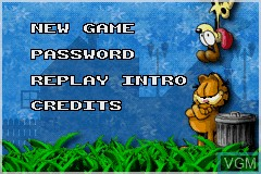 Menu screen of the game Garfield - The Search for Pooky on Nintendo GameBoy Advance