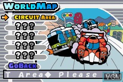 Menu screen of the game Gadget Racers on Nintendo GameBoy Advance