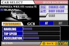 Menu screen of the game GT Advance - Championship Racing on Nintendo GameBoy Advance