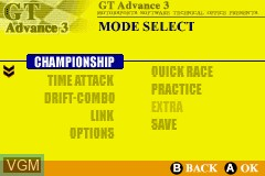 Menu screen of the game GT Advance 3 - Pro Concept Racing on Nintendo GameBoy Advance