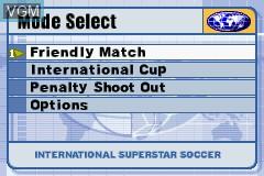 Menu screen of the game International Superstar Soccer on Nintendo GameBoy Advance