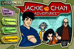 Menu screen of the game Jackie Chan Adventures - Legend of the Dark Hand on Nintendo GameBoy Advance
