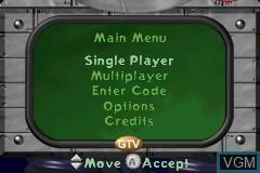Menu screen of the game Jimmy Neutron Boy Genius on Nintendo GameBoy Advance
