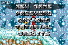 Menu screen of the game Kao the Kangaroo on Nintendo GameBoy Advance