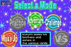 Menu screen of the game Kurukuru Kururin on Nintendo GameBoy Advance