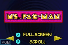 Menu screen of the game Namco Museum on Nintendo GameBoy Advance