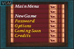 Menu screen of the game Nancy Drew - Message in a Haunted Mansion on Nintendo GameBoy Advance