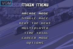 Menu screen of the game NASCAR Heat 2002 on Nintendo GameBoy Advance