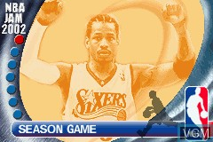 Menu screen of the game NBA Jam 2002 on Nintendo GameBoy Advance