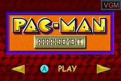 Menu screen of the game Pac-Man Collection on Nintendo GameBoy Advance