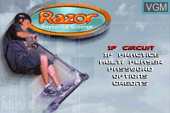 Menu screen of the game Razor Freestyle Scooter on Nintendo GameBoy Advance