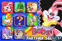 Menu screen of the game Tiny Toon Adventures - Buster's Bad Dream on Nintendo GameBoy Advance