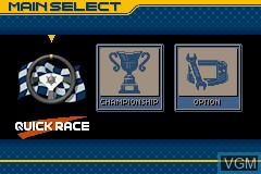 Menu screen of the game Top Gear GT Championship on Nintendo GameBoy Advance