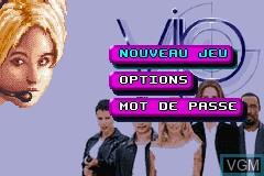 Menu screen of the game V.I.P. on Nintendo GameBoy Advance