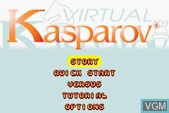 Menu screen of the game Virtual Kasparov on Nintendo GameBoy Advance