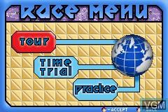 Menu screen of the game X-Bladez - Inline Skater on Nintendo GameBoy Advance