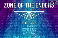 Menu screen of the game Zone of the Enders - The Fist of Mars on Nintendo GameBoy Advance