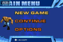 Menu screen of the game Fantastic 4 on Nintendo GameBoy Advance