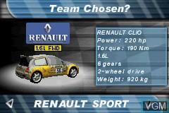 Menu screen of the game 2 in 1 - V-Rally 3 + Stuntman on Nintendo GameBoy Advance