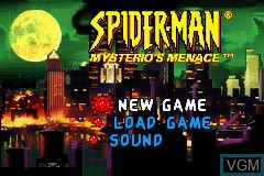 Menu screen of the game 2 in 1 Game Pack - Spider-Man - Mysterio's Menace + X2 - Wolverine's Revenge on Nintendo GameBoy Advance