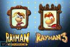 Menu screen of the game Rayman 10th Anniversary - Rayman Advance & Rayman 3 on Nintendo GameBoy Advance