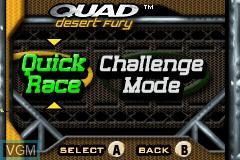 Menu screen of the game 2 Games in 1 - Quad Desert Fury + Monster Trucks on Nintendo GameBoy Advance