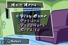 Menu screen of the game Fairly OddParents!, The - Clash with the Anti-World on Nintendo GameBoy Advance