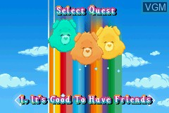 Menu screen of the game Care Bears - The Care Quests on Nintendo GameBoy Advance