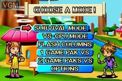 Menu screen of the game 2 Games in 1 - Columns Crown + ChuChu Rocket! on Nintendo GameBoy Advance