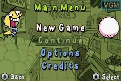Menu screen of the game Ed, Edd n Eddy - The Mis-Edventures on Nintendo GameBoy Advance