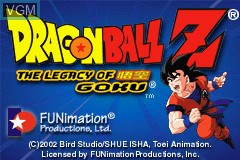 Menu screen of the game 2 Games in 1 - Dragon Ball Z - The Legacy of Goku I & II on Nintendo GameBoy Advance