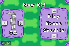Menu screen of the game Cabbage Patch Kids - The Patch Puppy Rescue on Nintendo GameBoy Advance