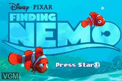 Menu screen of the game 2 Games in 1 - Finding Nemo + The Incredibles on Nintendo GameBoy Advance