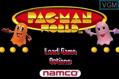 Menu screen of the game 2 Great Games! - Pac-Man World + Ms. Pac-Man - Maze Madness on Nintendo GameBoy Advance