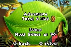 Menu screen of the game Madagascar on Nintendo GameBoy Advance
