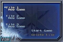 Menu screen of the game X-Men - The Official Game on Nintendo GameBoy Advance