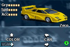 Menu screen of the game Racing Fever on Nintendo GameBoy Advance