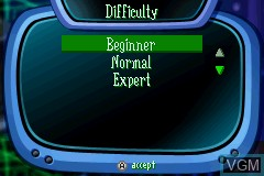 Menu screen of the game VeggieTales - LarryBoy and the Bad Apple on Nintendo GameBoy Advance
