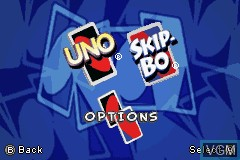 Menu screen of the game 2 Game Pack! - Uno & Skip-Bo on Nintendo GameBoy Advance