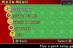 Menu screen of the game Uno 52 on Nintendo GameBoy Advance