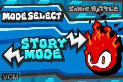 Menu screen of the game 2 Games in 1 - Sonic Battle + ChuChu Rocket! on Nintendo GameBoy Advance