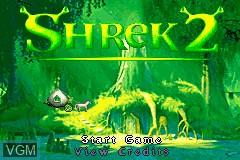 Menu screen of the game 2-in-1 Fun Pack - Shrek 2 + Madagascar - Operation Penguin on Nintendo GameBoy Advance