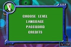 Menu screen of the game Agent Hugo - Roborumble on Nintendo GameBoy Advance